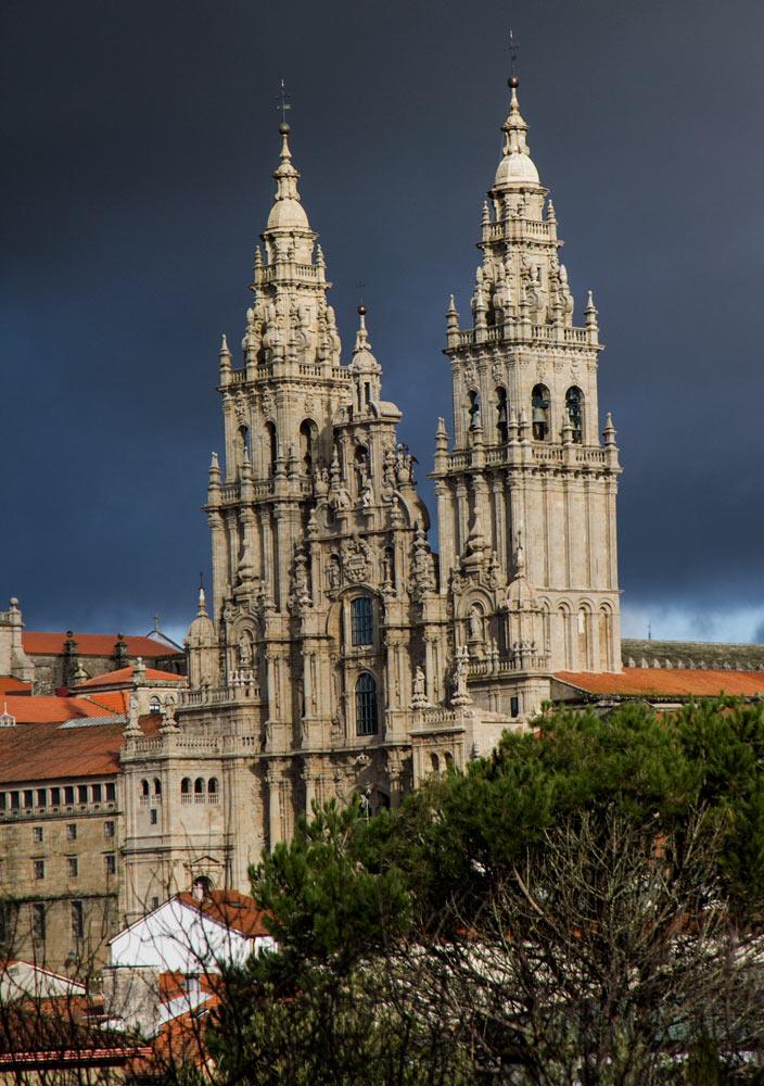 Vistas desde el Parque de la Alameda de la Catedral de Santiago de Compostela